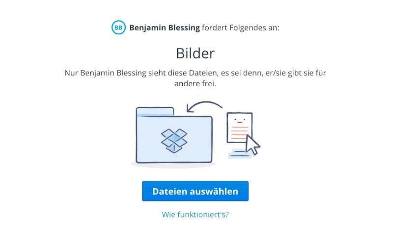 Dropbox über die Dateianfrage Dateien hochladen (Bild: Screenshot Dropbox).