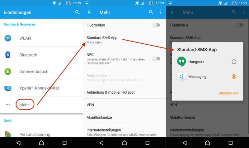 Android App für SMS Nachrichten ändern (Bild: Screenshot Android).