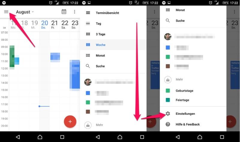 Die Wochentage in der Google Kalender App anzeigen (Bild: Screenshot Android).