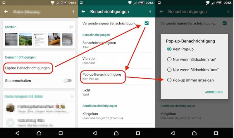 In WhatsApps können für jeden Kontakt und Gruppe die Pop-Ups individuell aktiviert werden (Bild: Screenshot WhatsApp).