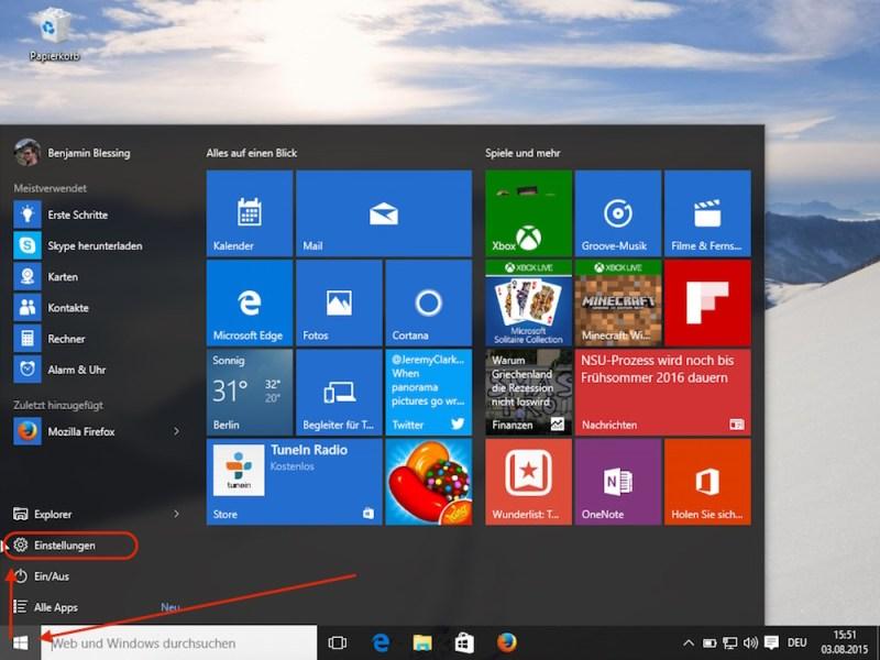 Windows 10 Einstellungen (Bild: Screenshot Windows 10).