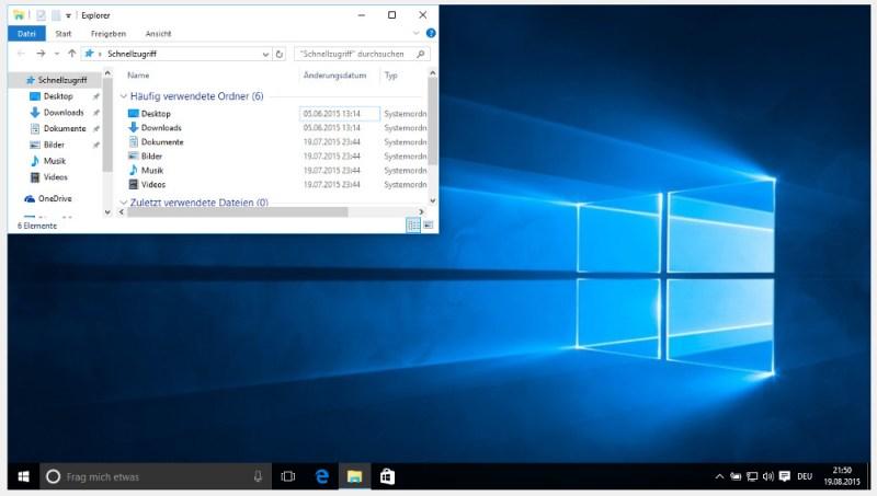 Wer die Tastenkürzel unter Windows 10 beherrscht, kann die Darstellung der Fenster schnell steuern (Bild: Screenshot Windows 10).