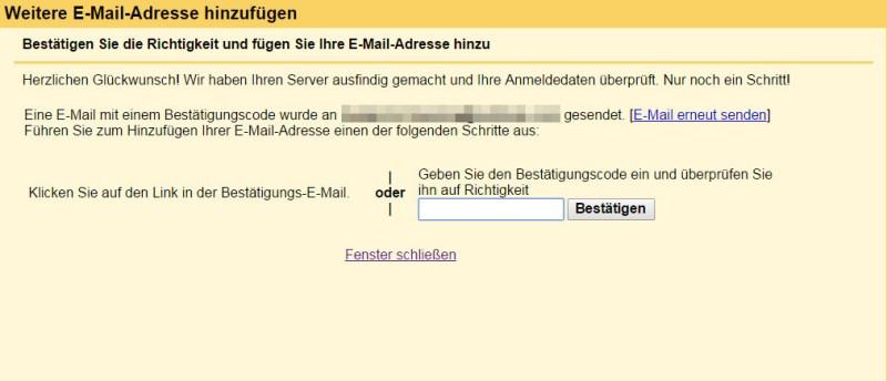 Zugriff auf Outlook E-Mail-Adresse für Gmail bestätigen (Bild: Screenshot Gmail).