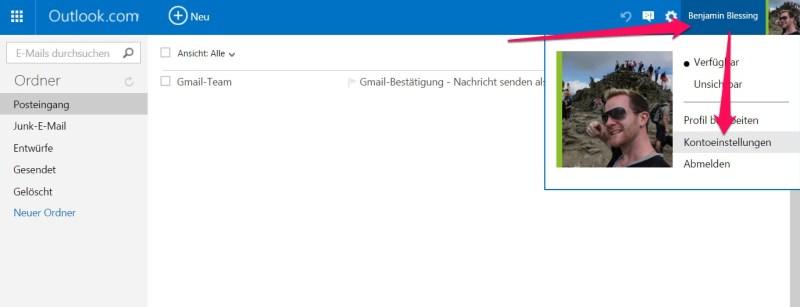 Die Kontoeinstellungen zu Outlook lassen sich über den Benutzername aufrufen (Bild: Screenshot Outlook.com).