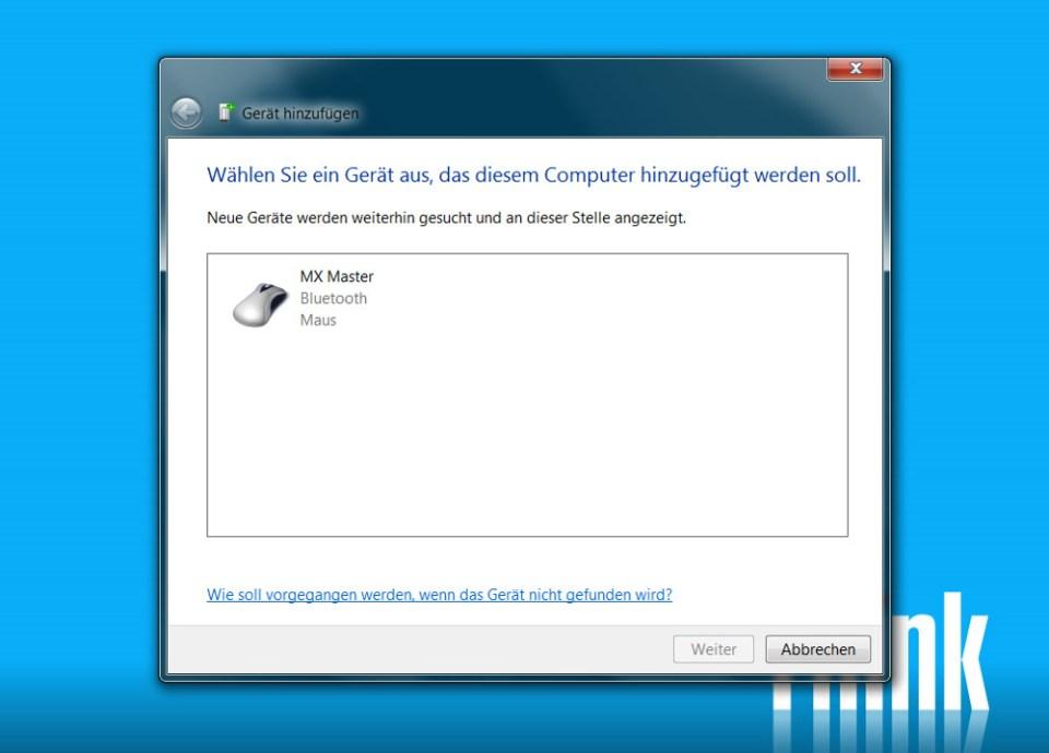 Logitech MX Master per Bluetooth verwenden (Bild: Screenshot Windows 7).