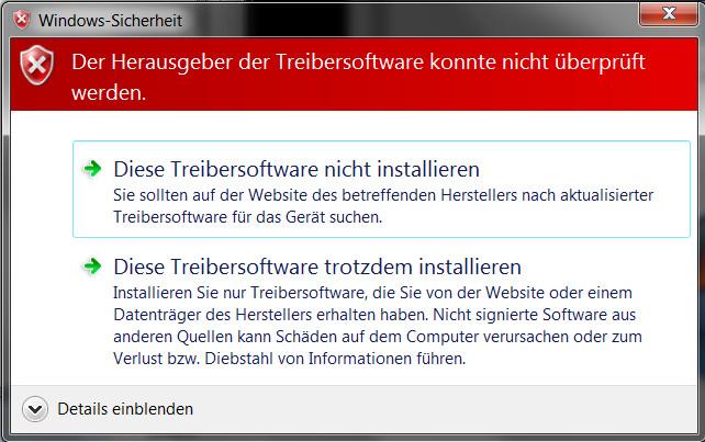Sony Xperia Z3 USB-Treiber Warnhinweis akzeptieren (Bild: Screenshot Windows).