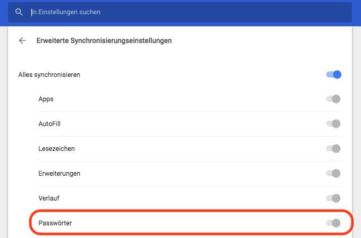 Erweiterte Synchronisierungseinstellungen von Google Chrome