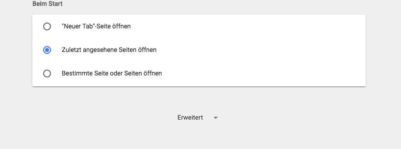 Google Chrome erweiterte Einstellungen