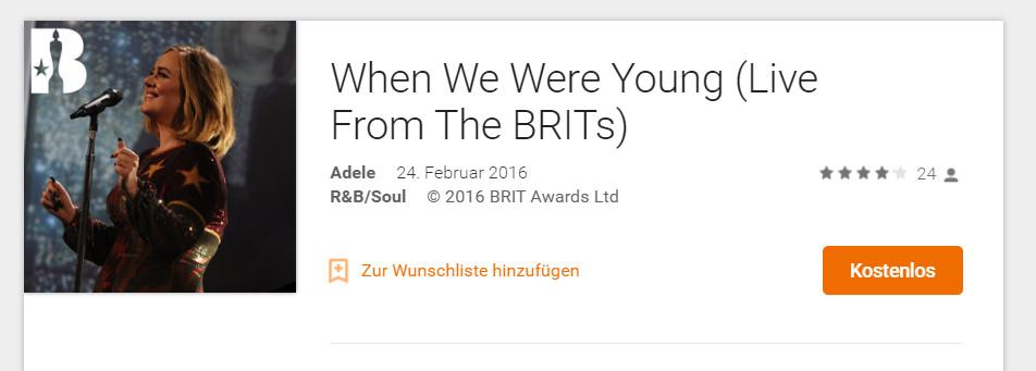 Brits 2016 kostenlos Google Play Musik
