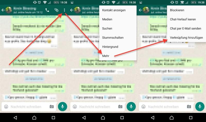 WhatsApp - Kontakte auf den Startbildschirm verknüpfen