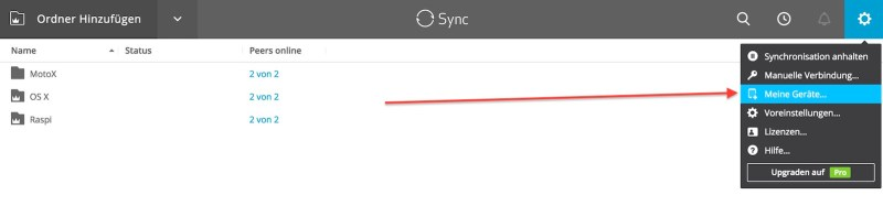 Resilio Sync neue Geräte einbinden