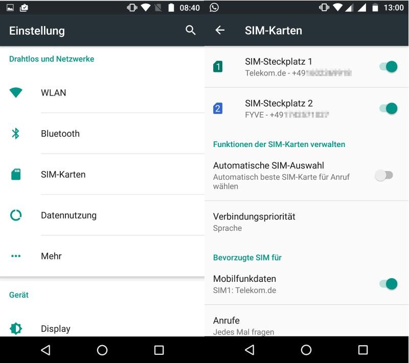 Zwei SIM-Karten im Moto X Play (Bild: Screenshot Moto X Play).