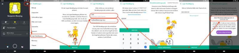 Snapchat Zwei-Faktor-Authentifizierung einschalten