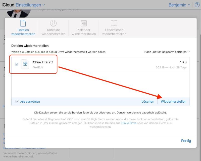 iCloud gelöschte Daten wiederherstellen