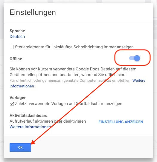 Google Docs offline verwenden