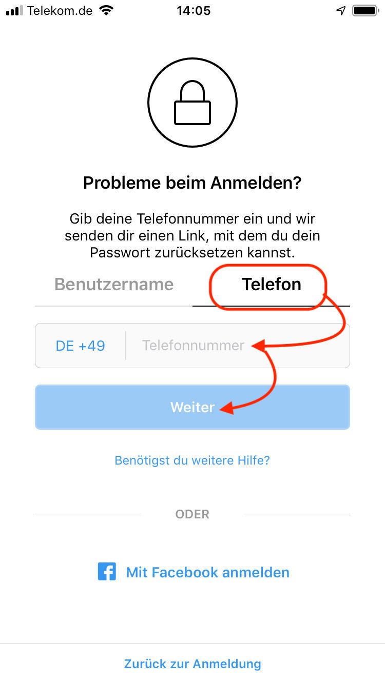 Instagram Email Vergessen