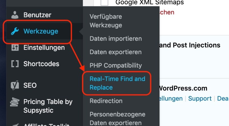 Real-Time Find and Replace starten