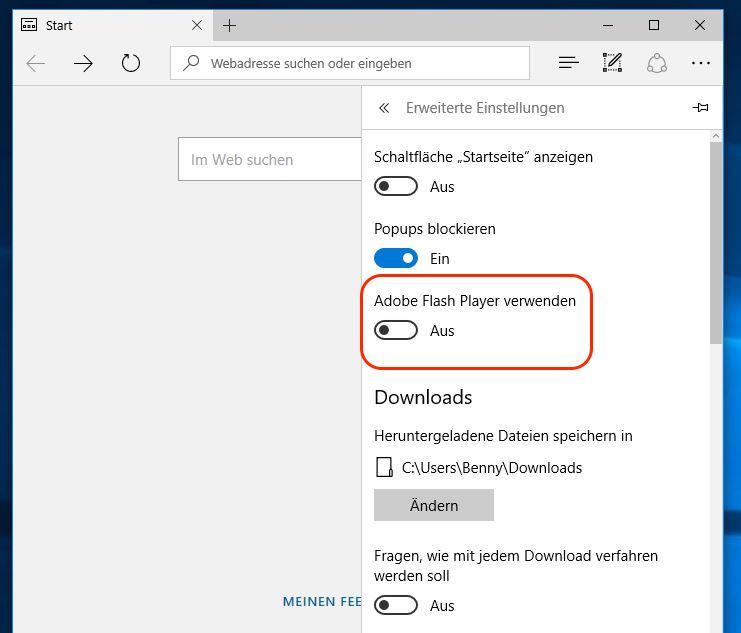 Microsoft Edge Adobe Flash Player ausschalten