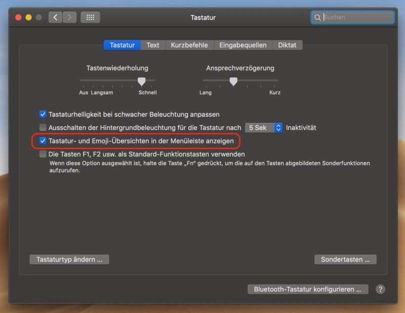 macOS Sonderzeichen auf dem Mac