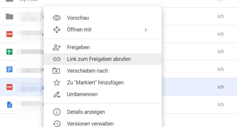 Datei in Google Drive freigeben
