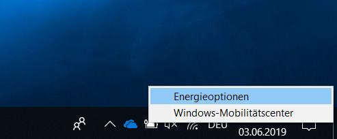 Windows 10 Energieoptionen öffnen