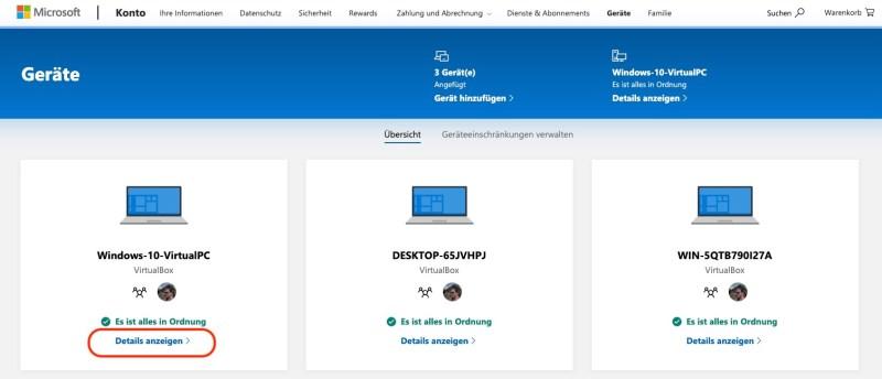 Windows 10 Geräte Übersicht