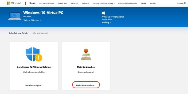 Windows 10 PC suchen