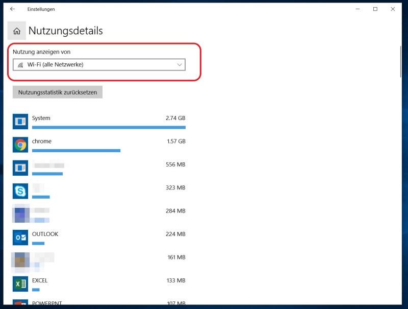 Windows 10 Datennutzung pro Anwendung