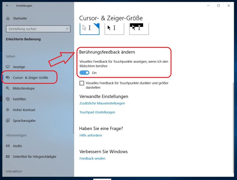 Windows 10 Einstellungen für Curser Feedback