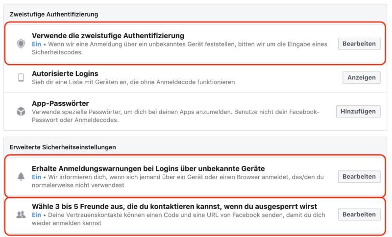 Sicherheit von Facebook verbessern