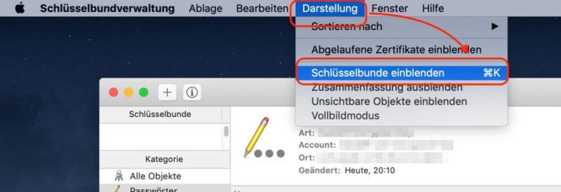 Schlüsselbund auf dem Mac einblenden
