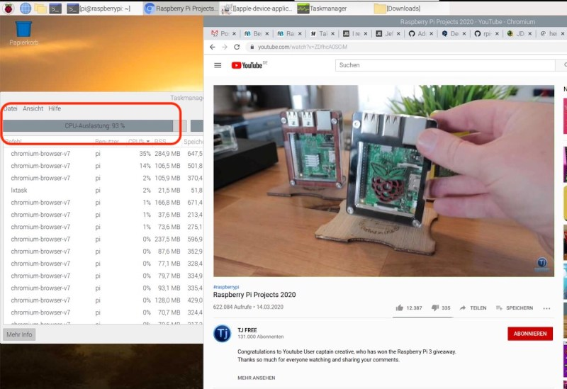 YouTube auf dem Raspberry Pi 4