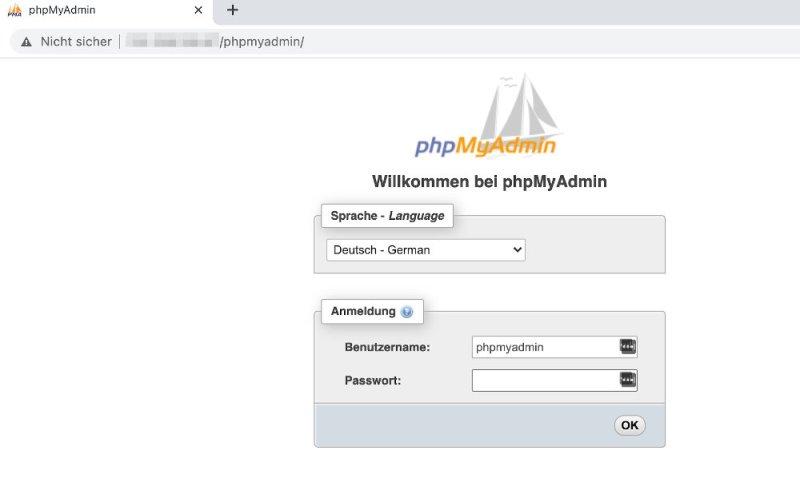 phpMyAdmin starten