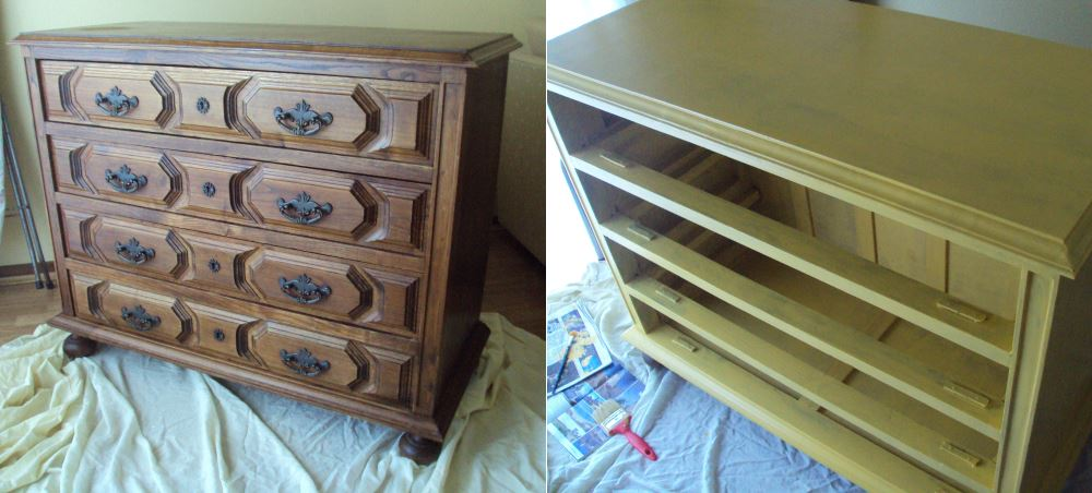 Antes e durante processo de pintura