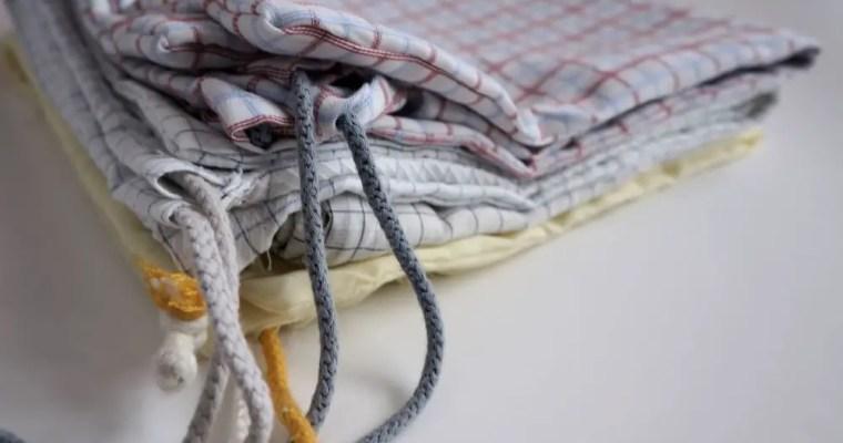 Sacos reutilizáveis feitos com camisas velhas