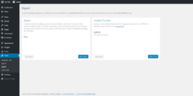 WordPress Dashboard Export Page