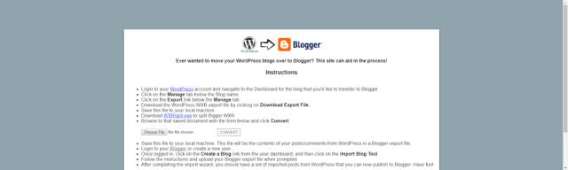 WordPress to Blogger Converter Tool Interface