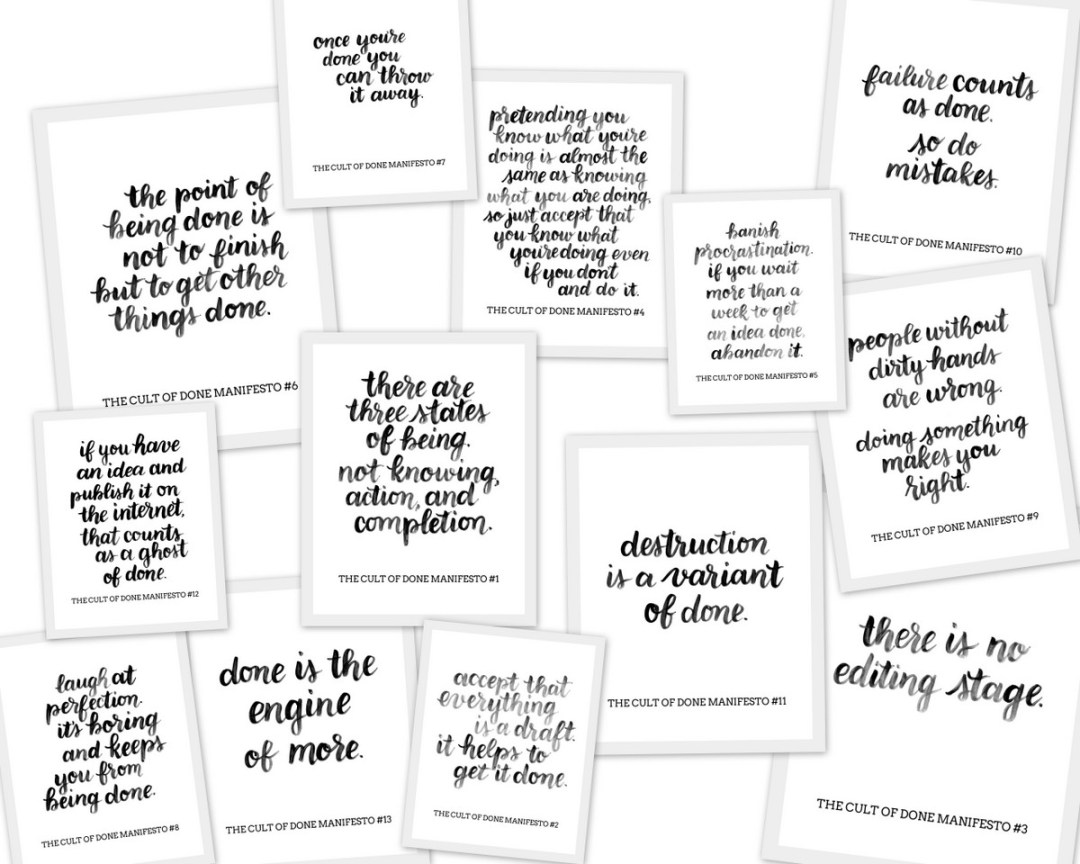 Cult of Done Manifesto - Lettered by www.randomolive.com