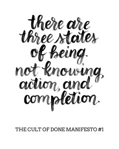 The Cult of Done Manifesto Brush Lettered by www.randomolive.com