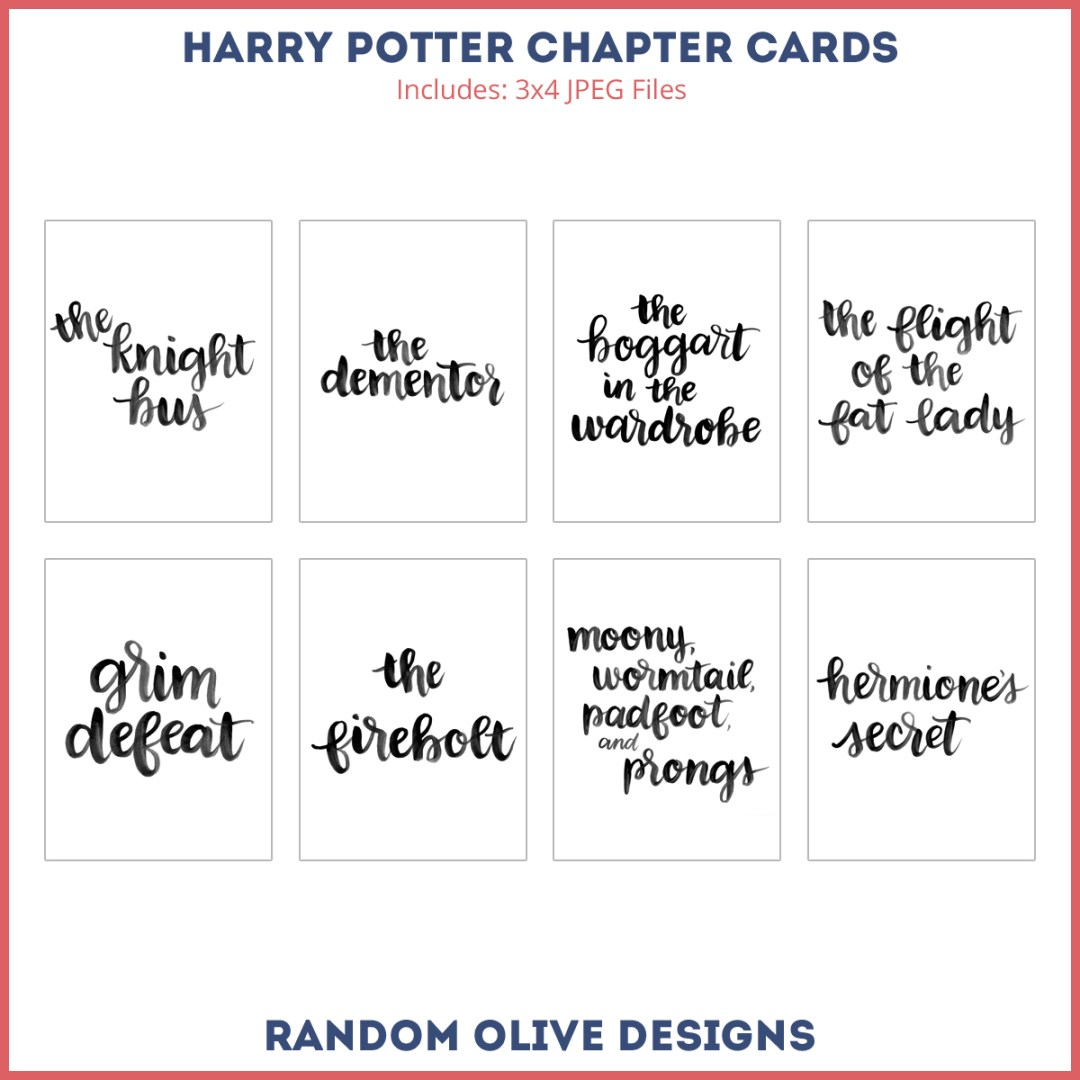 Free Harry Potter Chapter Title Cards - www.randomolive.com