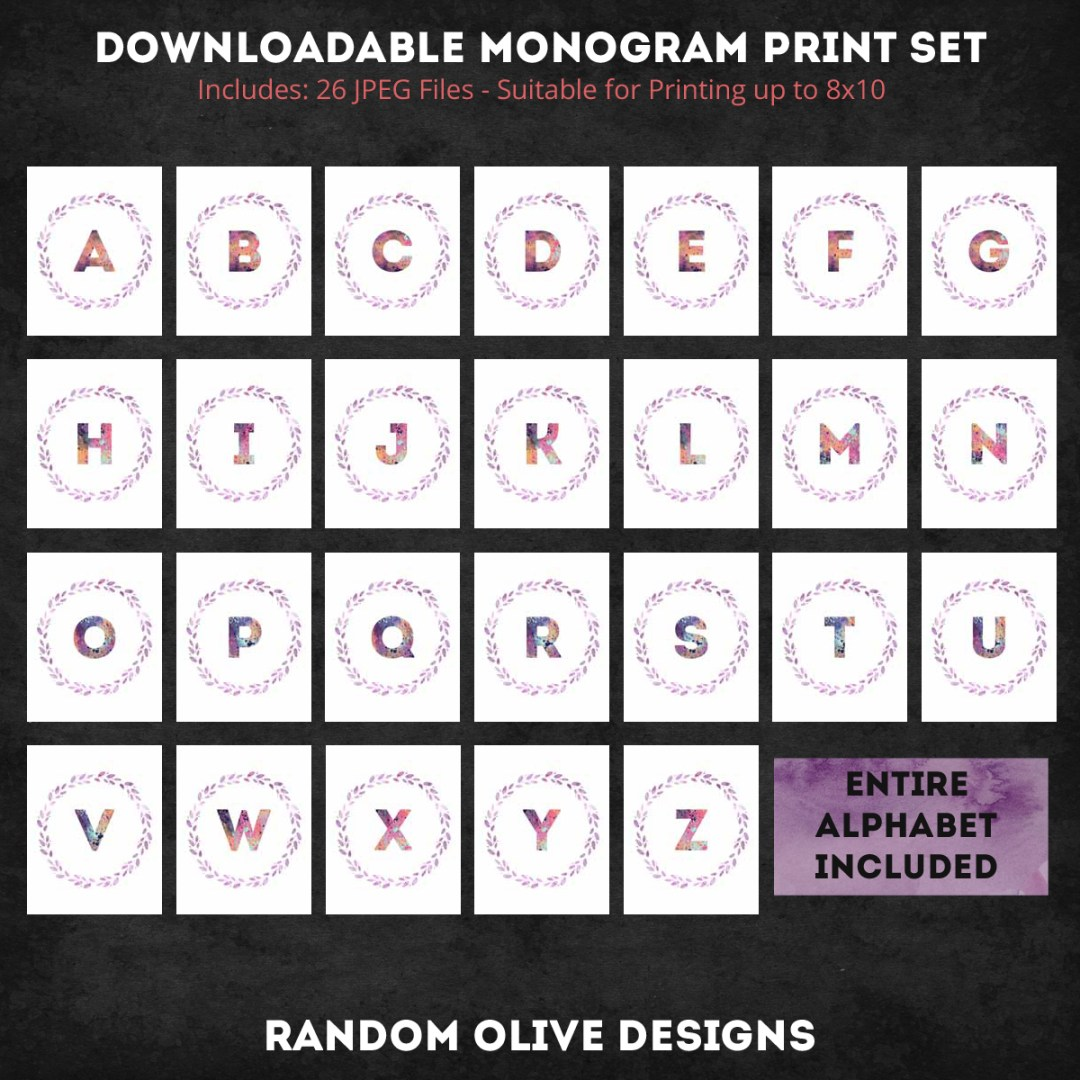Printable Monogram Sets - www.randomolive.com and http://randomolive.etsy.com