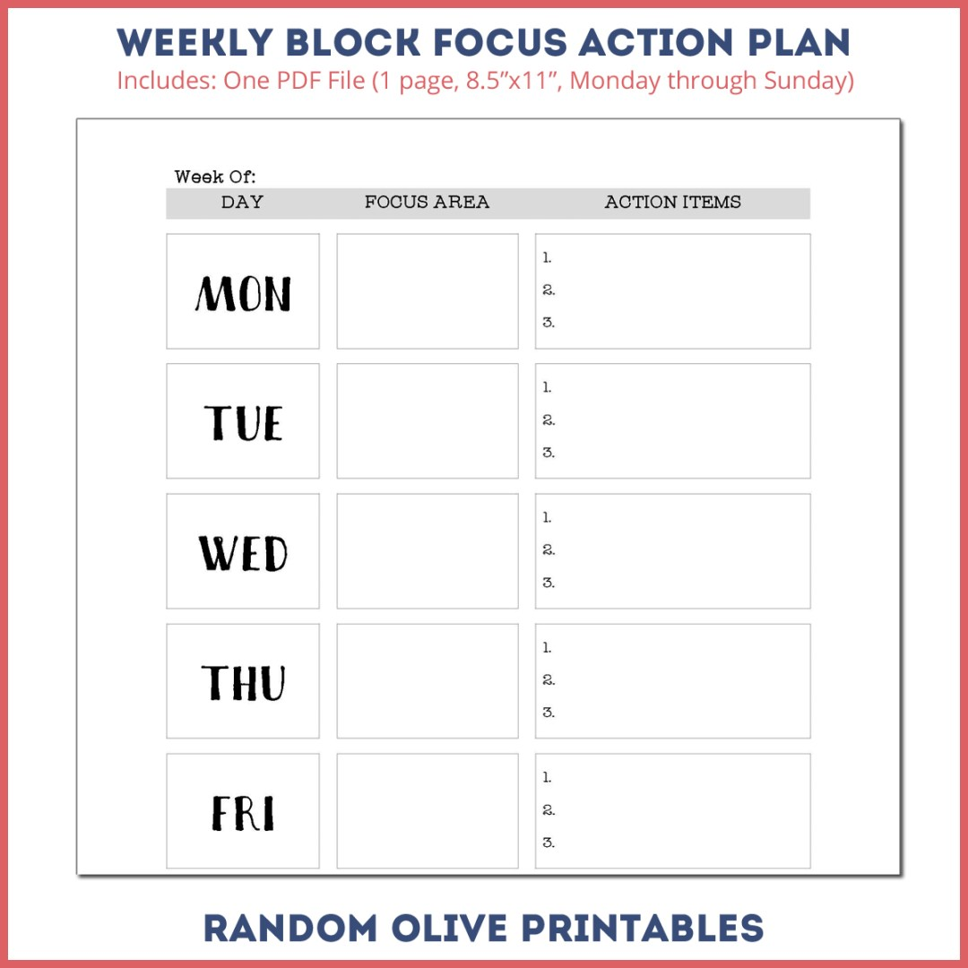 Downloadable Action Plan - www.randomolive.com