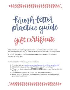 Brush Letter Practice Guide Gift Certificate-preview