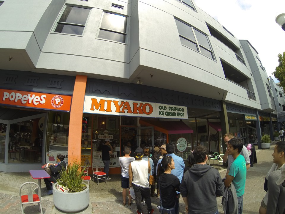 Lining up for ice cream at Miyako Old Fashion Ice Cream Shop
