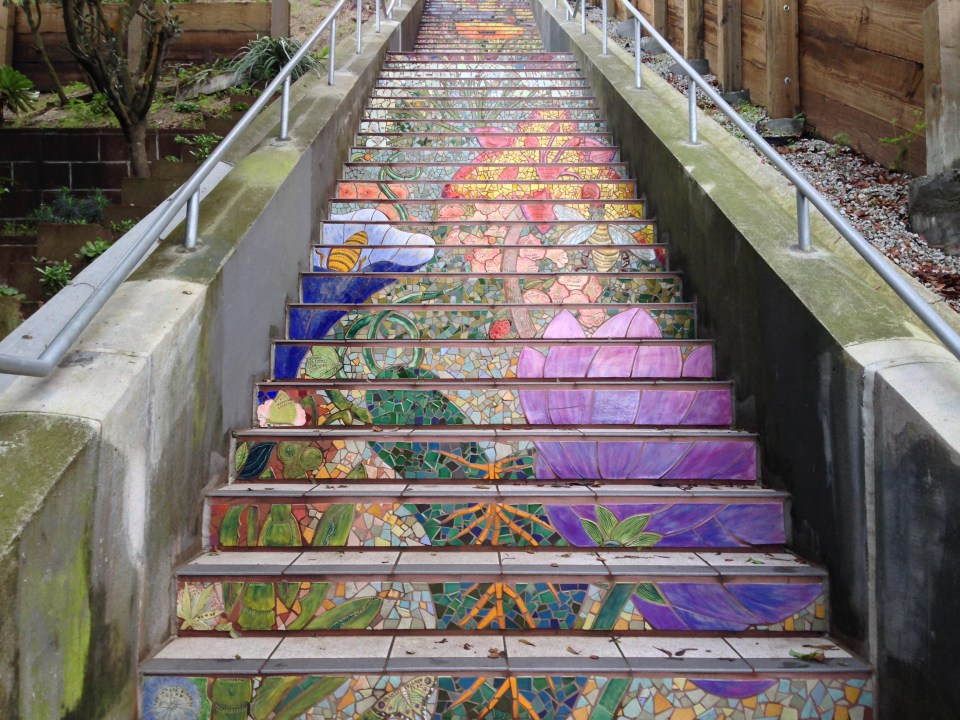 Pretty mosaic art on Hidden Garden Steps in the Inner Sunset