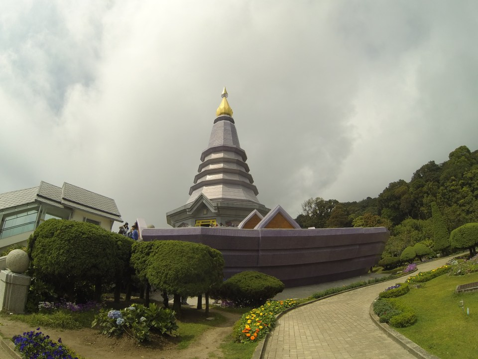 The purple Queen Pagoda at Doi Inthanon