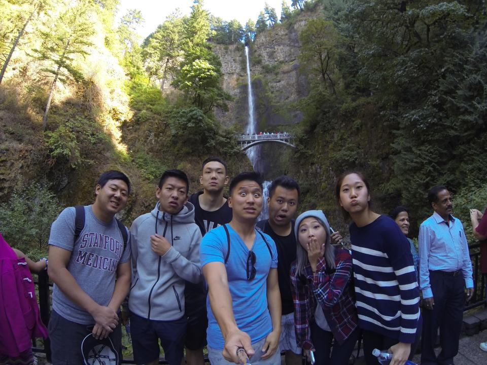 Funny faces in front of Multnomah Falls