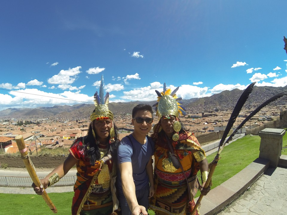 Selfie with the Incas in Cusco, Peru