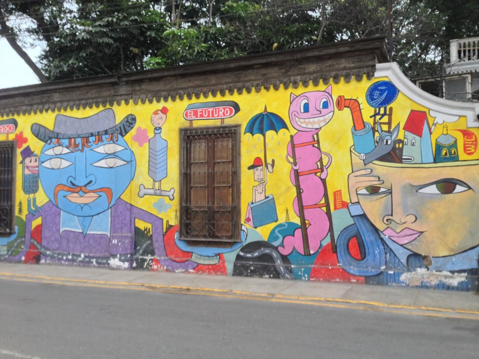 Painted murals in Barranco in Lima, Peru