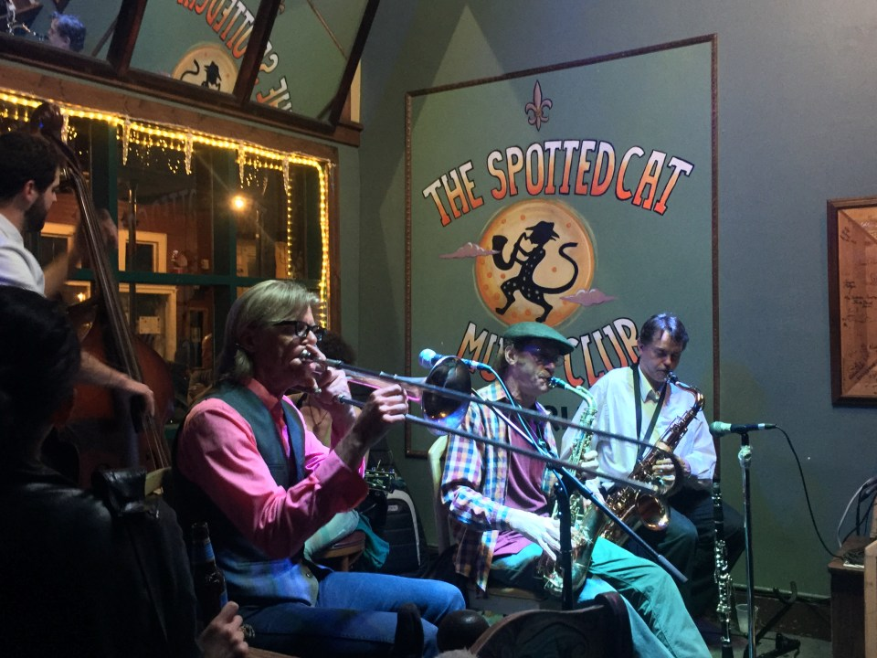 Jazz band performing at The Spotted Cat